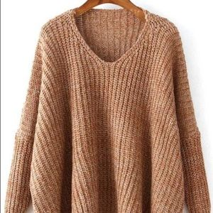 Sweaters - Brown Knit Oversized Sweater